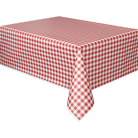 (2 pack) Plastic Red Gingham Table Cover, 108
