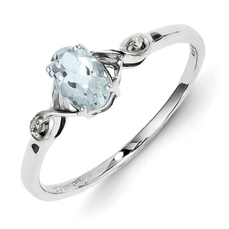 Oval White Topaz Ring - Sterling Silver Rhodium Plated Diamond and Aquamarine Oval Ring
