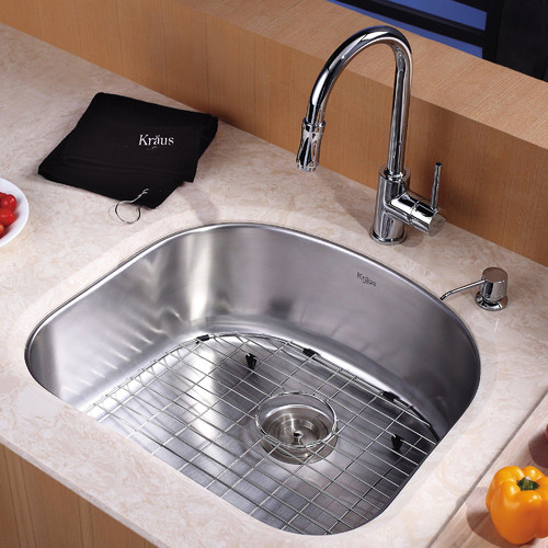 Kraus Undermount Single Bowl Kitchen Sink with Faucet and Soap Dispenser