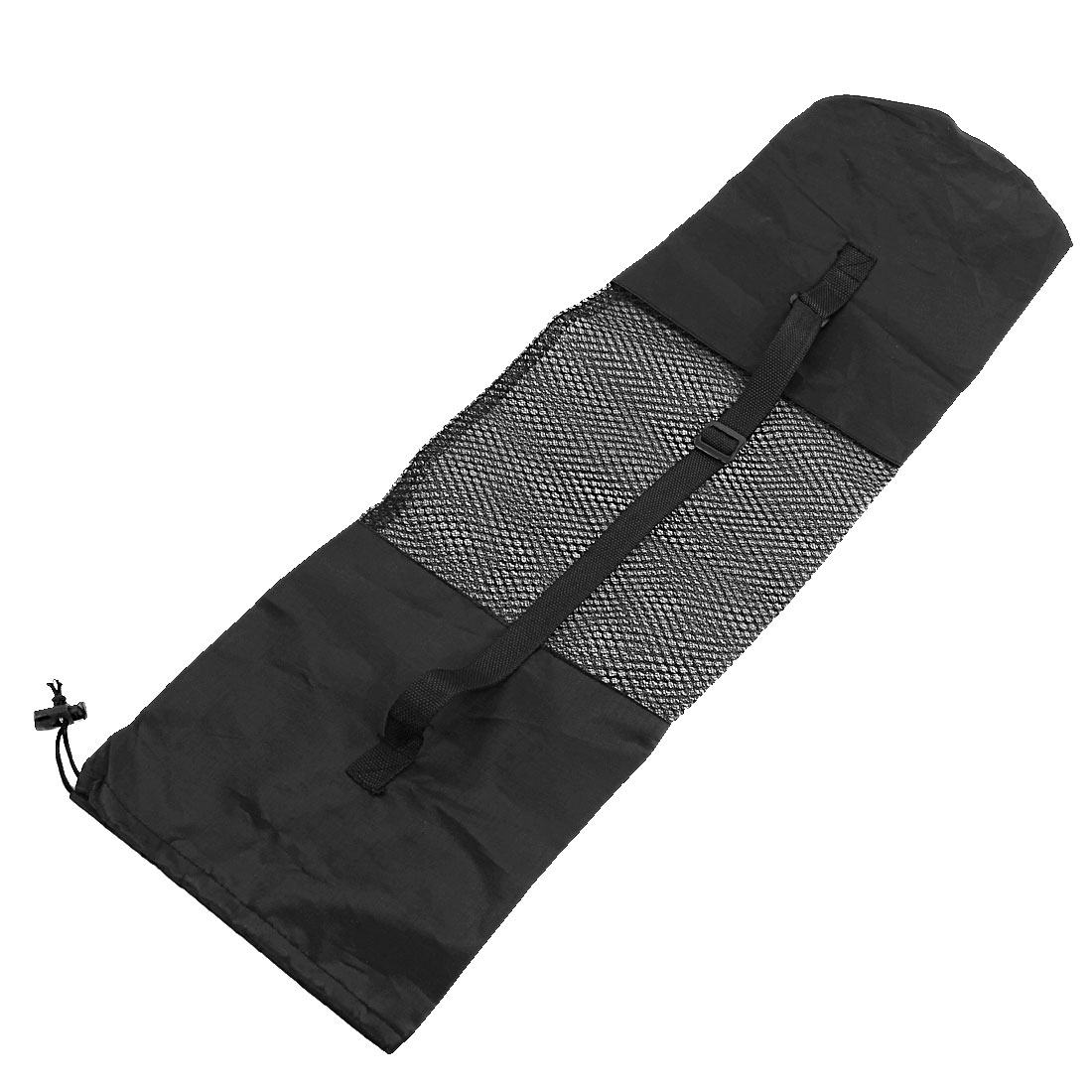 Adjustable Strap Black Nylon Yoga Pilates Mat Center Mesh Carrier Bag