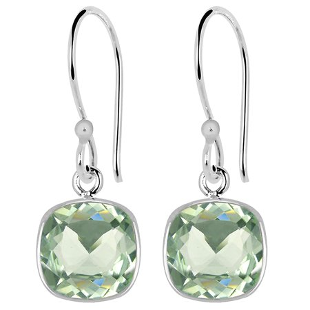 - 3 Carat Elegant Cushion Cut Green Amethyst 925 Sterling Silver Dangle Earrings For Women