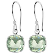 3 Carat Elegant Cushion Cut Natural Green Amethyst Earrings, 925 Sterling Silver Bezel Set Dangle Earrings for Women