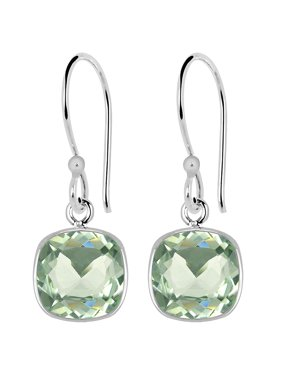 be4e7bdad Product Image 3 Carat Elegant Cushion Cut Green Amethyst 925 Sterling  Silver Dangle Earrings For Women