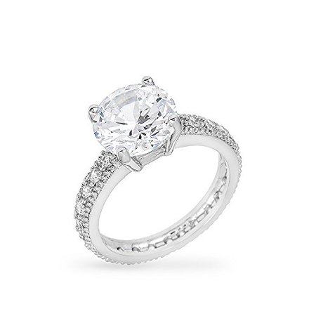 Micro Pave Engagement Ring With Large 4 Carat Center Stone And Micro Pave Shank Size 10