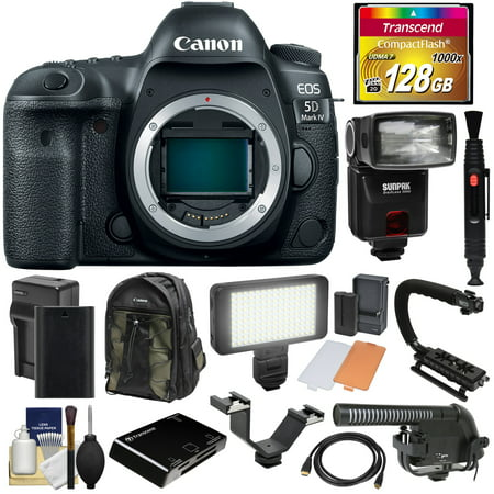 Canon EOS 5D Mark IV 4K Wi-Fi Digital SLR Camera Body with 128GB CF Card + Battery & Charger + Backpack + Flash + LED Video Light + Microphone +