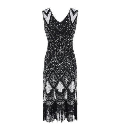 Female High-Quality 1920s Bead Fringe Sequin Embellished Celebration Flapper Gatsby Dress ()