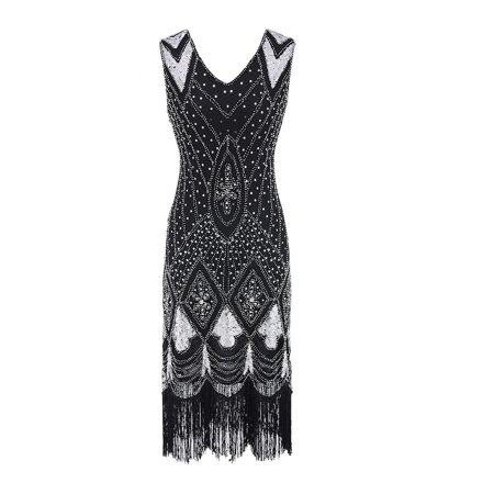 〖Follure〗Women Vintage 1920s Bead Fringe Sequin Embellished Party Flapper Gatsby Dress