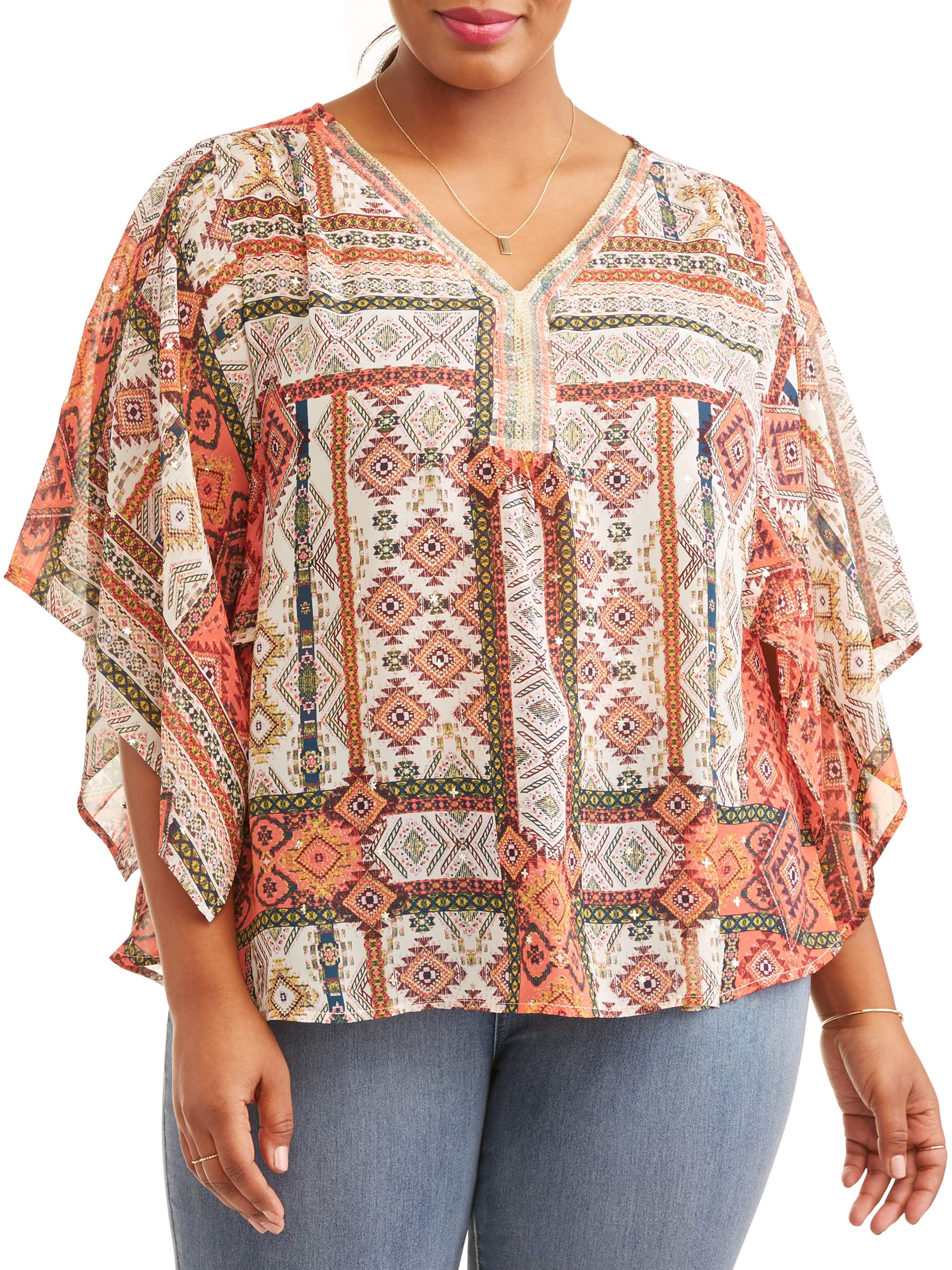 Lifestyle Attitudes Women's Plus Printed Chiffon Blouse