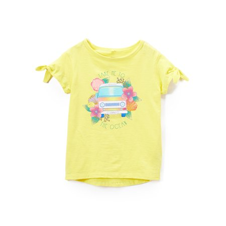 Tropical Tie-Sleeve Metallic Graphic T-Shirt (Little Girls & Big Girls) - Tropical Shirts