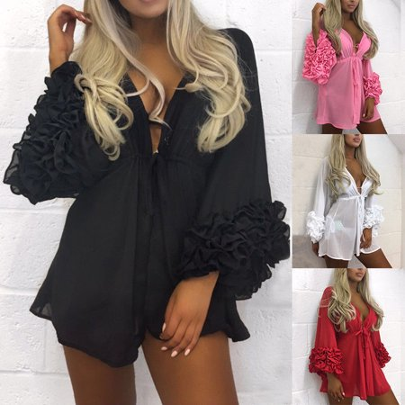 Women Ladies Bikini Swimwear Cover Up Summer Beach Solid Swimsuit Cover Ups Short Dress Bathing Suit Kaftan Robe - Dress Ups For Adults