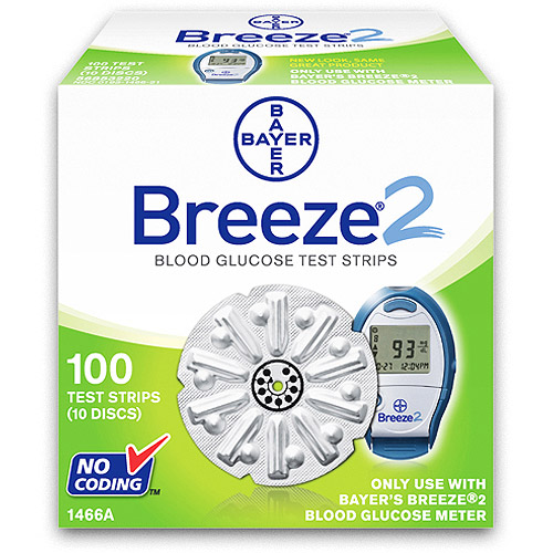 Bayer Breeze2 Blood Glucose Test Strips, 100ct