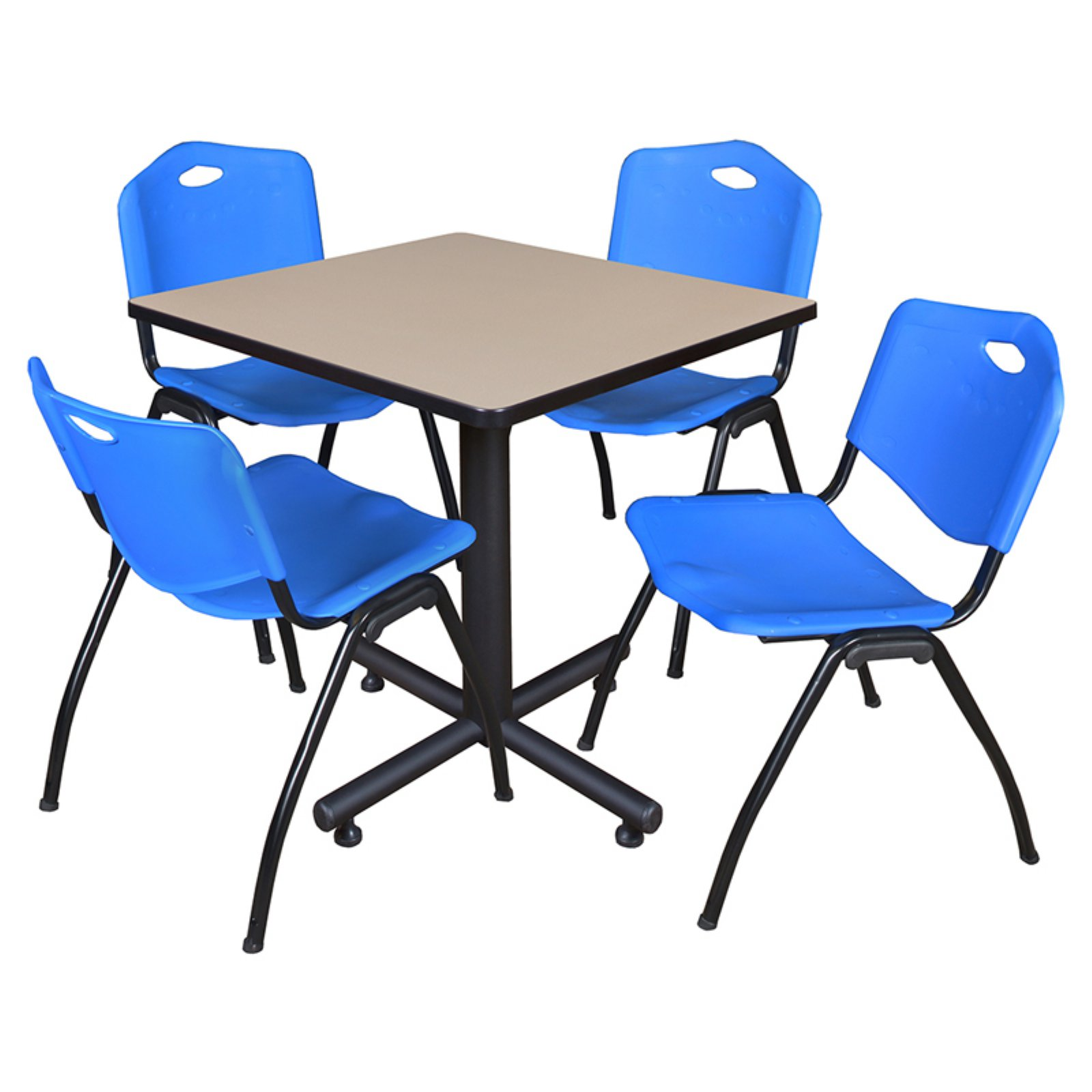 """Kobe 30"""" Beige Square Breakroom Table and 4 'M' Stack Chairs in Multiple Colors"""