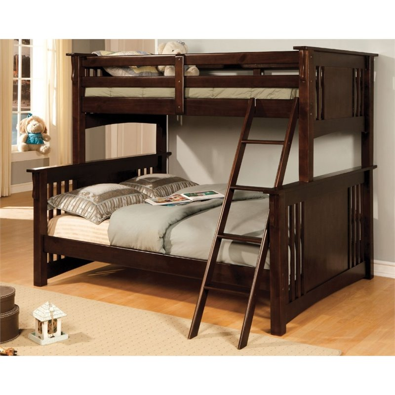 Furniture of America Roderick Twin over Full Bunk Bed in Espresso