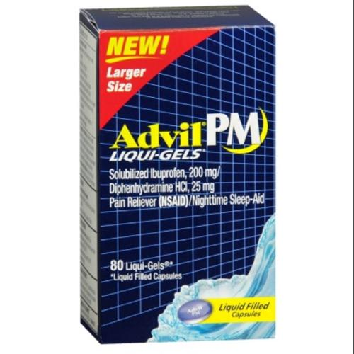 Advil PM Ibuprofen 200 mg Liqui-Gels 80 ea (Pack of 2)