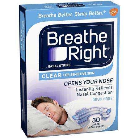 Breathe Right Nasal Strips  Clear Color For Sensitive Skin  Drug Free  Large Size  30 Strips
