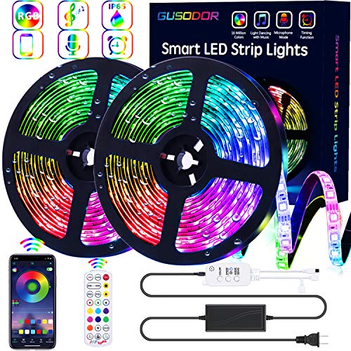 32.8 ft LED RGB Waterproof Color Changing Strip Lights Led Lights Strip Music Sync Led Lights Smart App Controlled and 40 Key Remote Led Lights for Bedroom Party Home Decoration