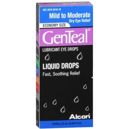 GenTeal Lubricant Eye Drops Moderate Dry Eye Relief [with GenAqua] 25 mL (Pack of 2)