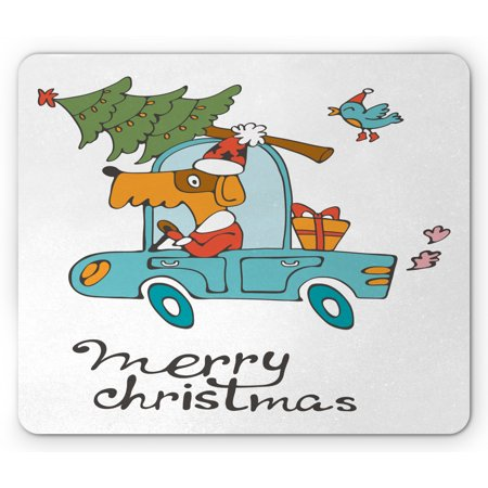 Christmas Mouse Pad, Blue Vintage Car Dog Driving Santa Costume Bird Tree Gift Present, Rectangle Non-Slip Rubber Mousepad, White Multicolor, by Ambesonne ()