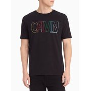 Calvin Klein Men's Multicolor Outline Crew Neck Tee, Black, 2XLarge