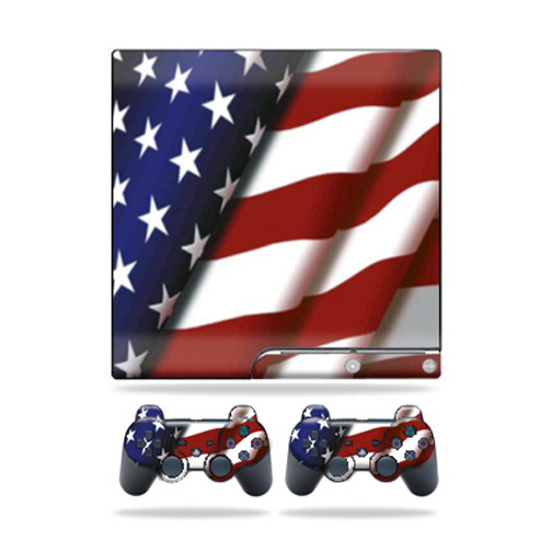 Skin Decal for Sony Playstation 3 PS3 Slim + 2 controllers American Pride