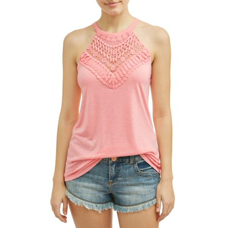 Juniors' Crochet Lace High Neck Tank Top