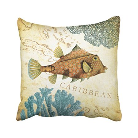 WinHome Square Throw Pillow Covers Tropical Colorful Caribbean Yellow Fish And Coral Watercolor Pillowcases Polyester 18 X 18 Inch With Hidden Zipper Home Sofa Cushion Decorative Pillowcase