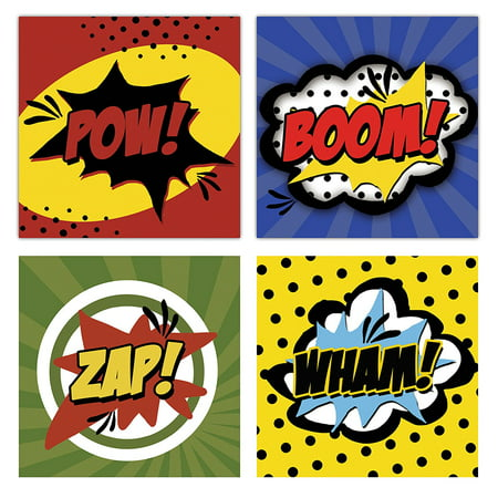 Superhero Room Ideas (Superhero Pow! Boom! Wham! and Zap! Set; Childs Room or Nursery Decor; Four 12x12in Unframed Paper Posters.)