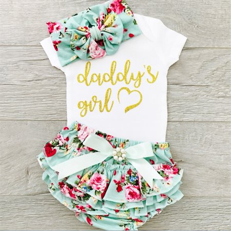 c1ad37b96b5 Emmababy - 3pcs Newborn Infant Baby Girls Romper Jumpsuit Ruffle Shorts Dress  Summer Outfits - Walmart.com