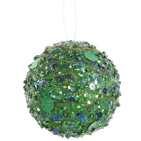 Green Sparkle Kissing Christmas Ball Ornament 4