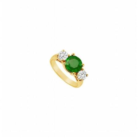 3 Stone Fine Diamond (Fine Jewelry Vault UBJ210Y14DE-101RS5.5 Three Stone Emerald & Diamond Ring 14K Yellow Gold, 3.00 CT - Size 5.5 )