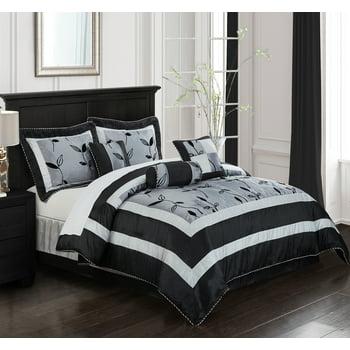 Nanshing Pastora 7-Piece Bedding Comforter Set (Gray, Queen)