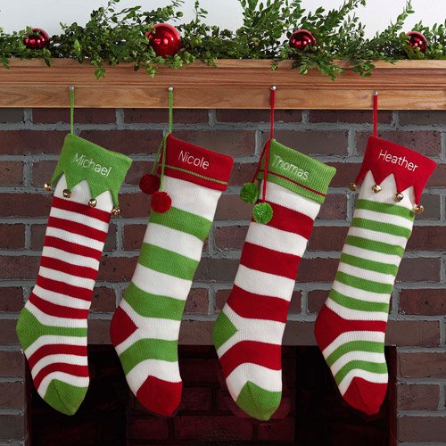 personalized striped christmas stocking with jester cuff available in red or green walmartcom - Red And Green Christmas Stockings