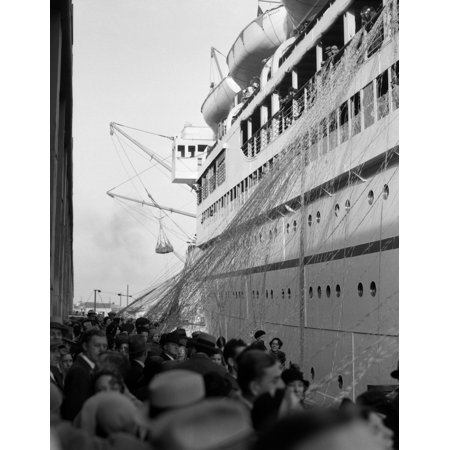 Vintage Cruise Ship - 1930s Crowd Of People On Pier Wishing Bon Voyage To Sailing Traveling Passengers On Ocean Liner Cruise Ship Rolled Canvas Art - Vintage Images ()
