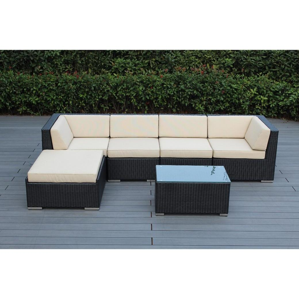 Ohana Depot Ohana Outdoor Patio 6 Piece Black Wicker Sofa Sectional with Cushions