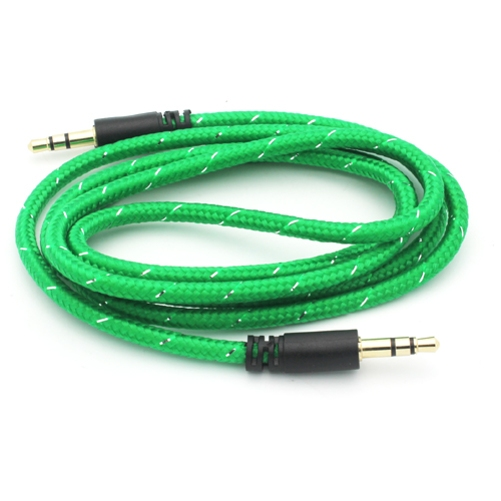 Green Braided Aux Cable Car Stereo Wire Compatible With ZTE Blade Z Max X MAX Spark 3 Force, Axon M 7, Avid 916 828 4 B4G