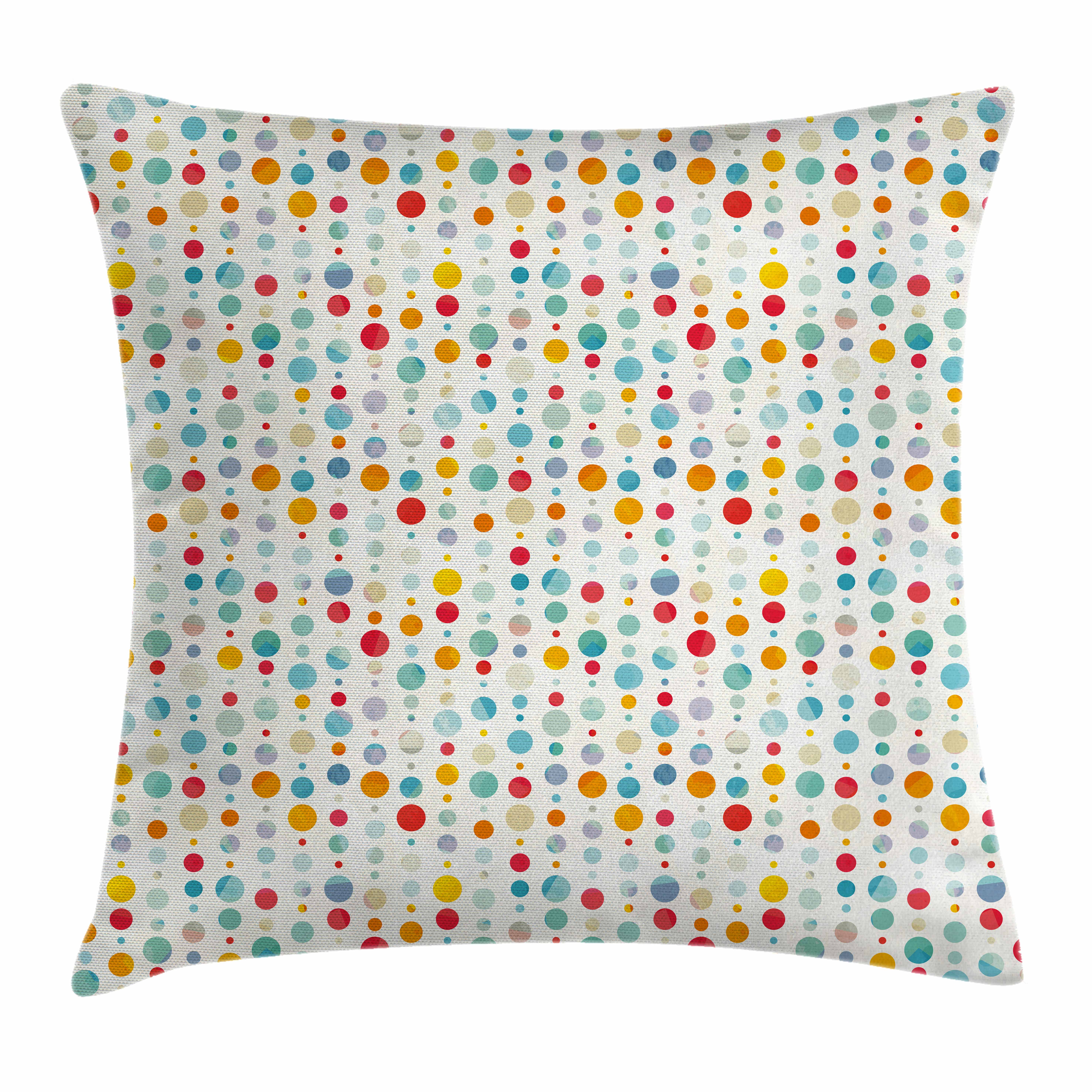 Abstract Throw Pillow Cushion Cover, Colorful Circular Large Dots Bubble Happy Hipster Kids Nursery Stylish Fun Print, Decorative Square Accent Pillow Case, 16 X 16 Inches, Multicolor, by Ambesonne