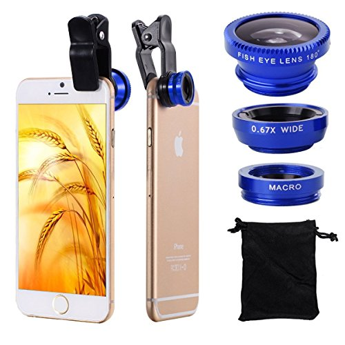 3 in 1 Fish Eye Wide Angle Macro Camera Clip on Lens for Universal Cell Phone, Smartphones, iPhone, Samsung (Blue)