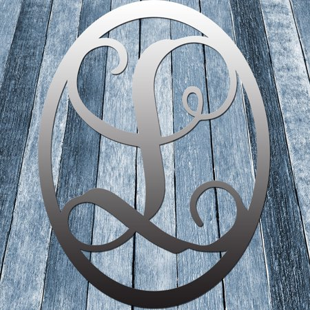 Round A Bout Vine Script Single Letter Raw Metal Monogram Initial In Circle Wall Décor 24 L