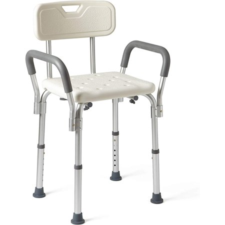Medline Shower Chair Spa Bath Seat with Padded Armrests and Back, 350lb Weight Capacity, Adjustable Height Bench