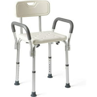 Medline Shower Chair Spa Bath Seat with Padded Armrests and Back, Bench Supports up to 350 lbs, Adjustable Height