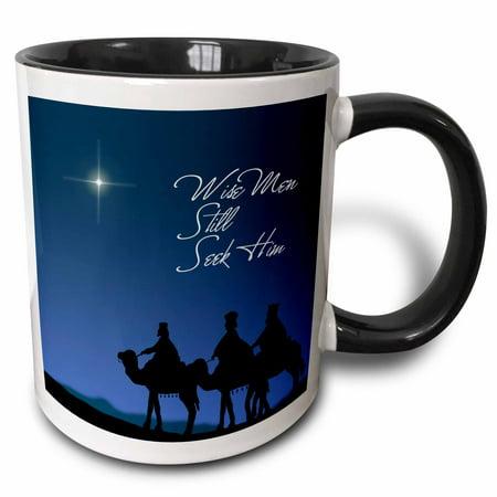 3dRose Wise men still seek Him Magi following the Christmas star , Two Tone Black Mug, 11oz