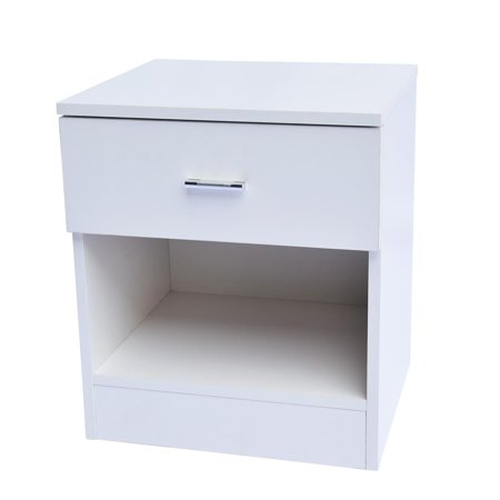 Ktaxon 1-Drawer Bedside Cabinet Night Table Nightstands,E1 Particle Board End Table White,for Bedroom ()