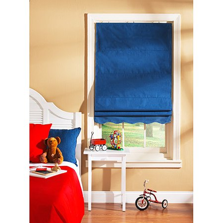 Shades My Way Fabric Window Roman Shade Blue