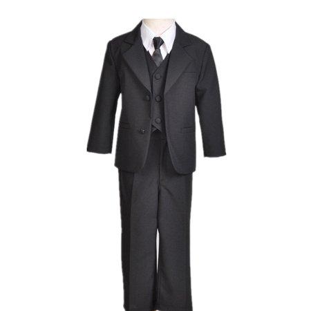 Ekidsbridal Boy Teen Black Non-Shiny Suit Tuxedo Recital Easter Holiday Spring Summer Seasonal Communion Receptions Ceremony Birthday Baptism Special Occasions