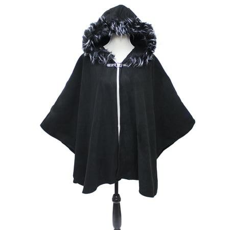 StylesILove Women Faux Fur Hoodie Cape with Buckle Fashion Jacket Shawl (Black) (Faux Fur Cape)