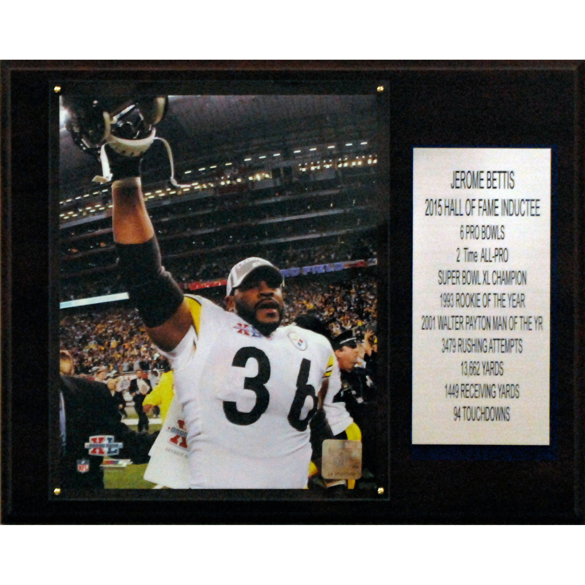 C&I Collectables NFL 12x15 Jerome Bettis Pittsburgh Steelers Career Stat Plaque