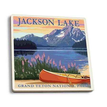 Grand Teton National Park, Wyoming - Jackson Lake - Lantern Press Artwork (Set of 4 Ceramic Coasters - Cork-backed, (Lace Lantern)