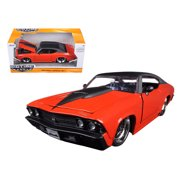1969 Chevrolet Chevelle SS Orange With Matte Black Top and Hood Scoop 1/24 Diecast Model Car by Jada