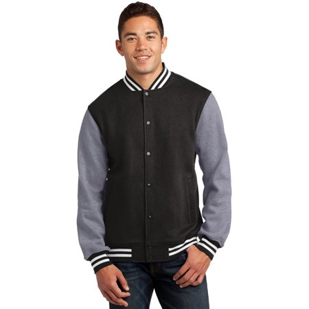 Sport-Tek ST270 Mens Fleece Letterman Jacket - Black/ Vintage Heather - XS - Letter Man Jacket