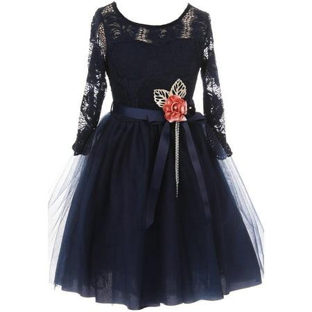 Little Girls Long Sleeve Girls Dress Floral Lace Roses Corsage Christmas Flower Girl Dress Navy 4 (J20KS98)